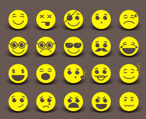 Yellow smileys faces icon and emoticons with facial expressions and emotions in flat paper cut circle. Vector illustration.