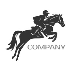 jumping horse with rider logo