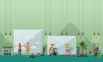 Fitness center interior vector illustration. People work out in gym horizontal banners.