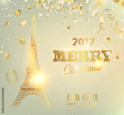 happy new year card over gray background with golden sparks eiffel tower with golden confetti isolated over white background and sign merry christmas