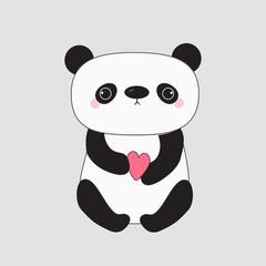 Kawaii panda baby bear. Cute cartoon character holding pink little heart. Wild animal collection for kids. Gray background. Love card. Flat design.