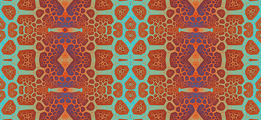 Abstract fractal high resolution seamless pattern background ideal for carpets, tapestries, fabric and wallpapers with a detailed branching interconnected pattern
