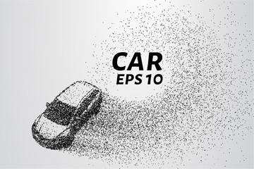 Car from the particles. The wind from the car takes small circles and dots. Vector illustration