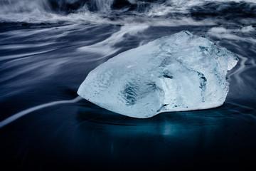 Blue ice on beach - jokulsarlon - iceland