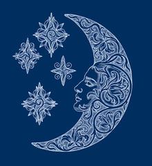 Луна и звёзды на синем фоне, декоративная графика.