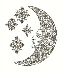 Луна и звёзды на белом фоне, декоративная графика.