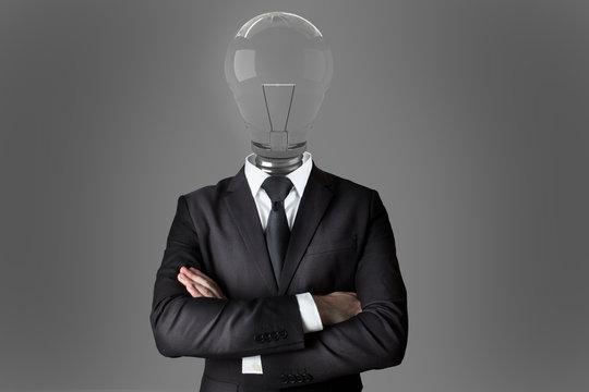 businessman with light bulb head creativity