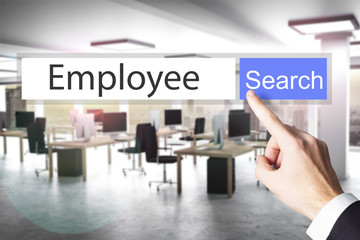 websearch new blue search button employee 3D Illustration