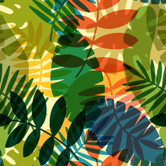 seamless vector pattern with tropical plants and palm leaves
