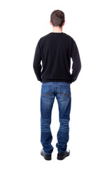 back view of man isolated on white