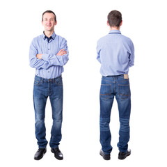 front and back view of handsome middle aged business man isolate