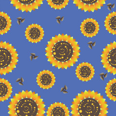 Sunflowers on a blue background. Seamless pattern. Design for textiles, tapestries, glassware, ceramics, packaging material.