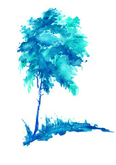Blue Tree watercolor on an isolated white background. Winter plant, logo, apple, birch, maple, oak, snow