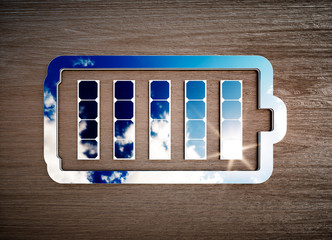 Renewable energy storage sign on dark wooden desk