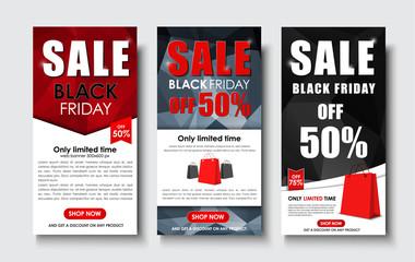 Set of web banner for sales on Black Friday