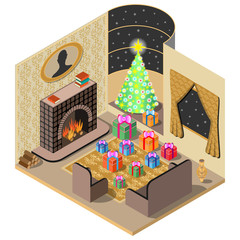 Festively decorated room. Christmas Gifts, tree, fireplace ,tapis and vase. 3D isometric view. Vector illustration.