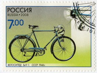 RUSSIA - 2008: shows Bicycle ZiCh-1, 1946