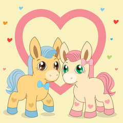 Two Ponies. Favorite Lovely Vector Pony. Pony And Heart. Vector Horses. The Picture On A Beige Background.