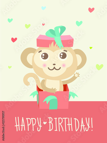 Happy Birthday Card With Funny Monkey Surprise In A Gift Box Funky