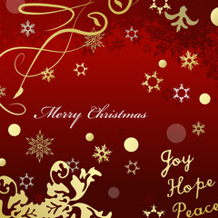 Red Merry Christmas card with gold glittering design effects.