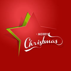 Abstract background with Christmas star and Merry Christmas text