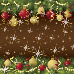 Seamless winter background with xmas balls, vector illustration