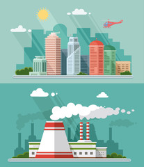 Set of flat design. Urban landscape illustrations including down