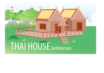 Vector illustration of Thailand house