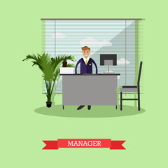 Manager or office worker sitting on chair and working with computer. Business concept vector illustration flat style design