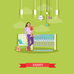 Nanny with a child. Nursery room interior. Vector illustration in flat style. Baby, cradle