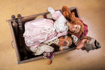 Vintage Marionettes - Puppets in Coffer