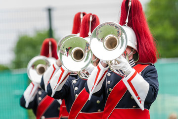 Show band with live music playing wind instruments in uniform, m
