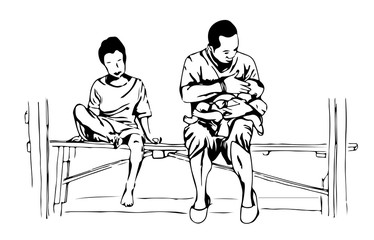 a hand drawn sketch of a father holding a baby in his arm, and a young boy sits on a bench.