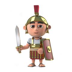 3d Roman centurion soldier has sword drawn