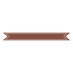 decorative brown ribbon icon over white background. vector illustration