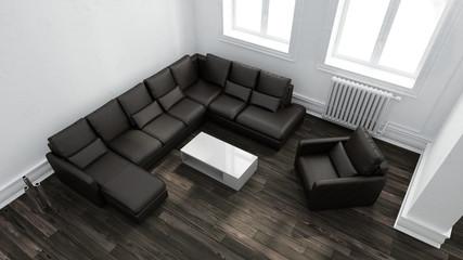 Dunkles Sofa als Sitzecke im Wohnzimmer