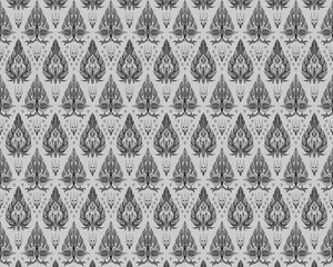 Pattern of flowers and leaves isolated on white background.