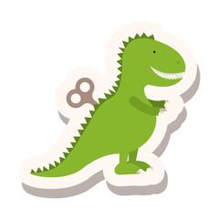 green dinosaur icon over white background. toys kids design. vector illustration