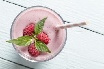 Fotobehang Milkshake Raspberry refreshment
