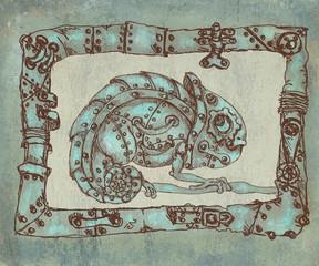 Steam punk mechanical chameleon  on grunge background
