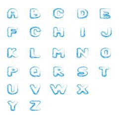 Alphabet winter ice ,cold water. Snowdrift. Cut font. Vector illustration.