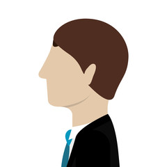 avatar male man wearing suit and tie icon over white background. vector illustration