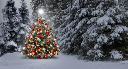 Geschmuckter weihnachtsbaum im wald