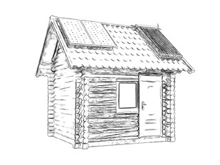 Outlines wooden house