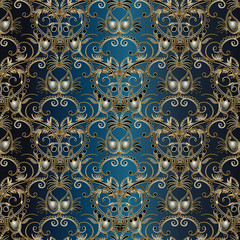 Damask pattern.Floral vector seamless pattern with damask and 3d paisley flowers.Gold damask paisleys on the dark blue background.Damask wallpaper.Paisley flowers