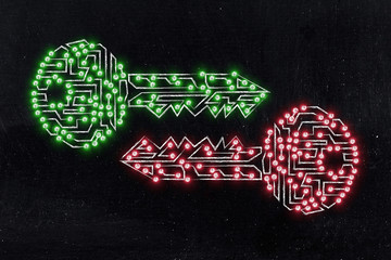 matching keys made of circuits & led lights, encryption & crypto