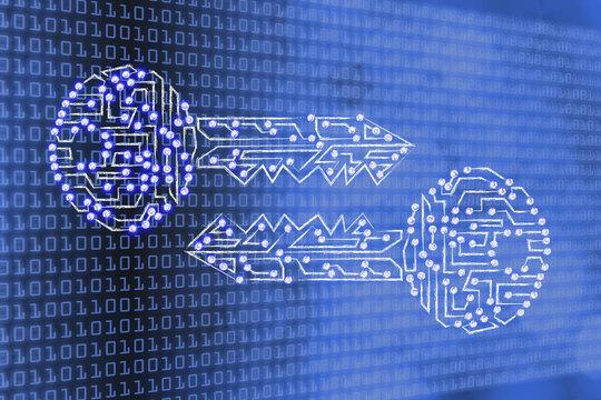 matching keys made of circuits & led lights, encryption & crypto