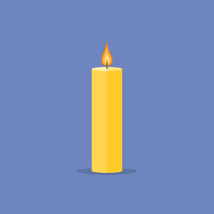 Candle isolated on blue background. Flat style icon. Vector illustration.