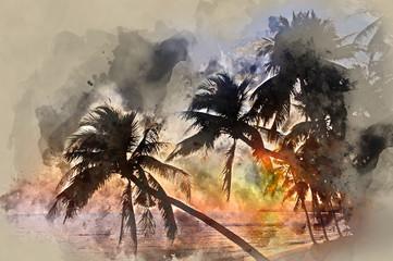 Palm trees at sunset. Samui island, Thailand. Digital art