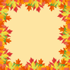 Colorful autumn leaves frame on yellow background. Vector illustration.